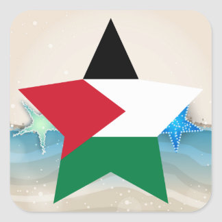 Cool Palestine Flag at the Beach Square Sticker