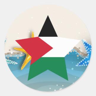 Cool Palestine Flag at the Beach Round Sticker