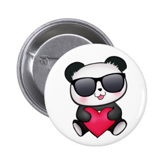 Cool Panda Bear Sunglasses Valentine's Day Heart 6 Cm Round Badge