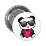 Cool Panda Bear Sunglasses Valentine's Day Heart Pin