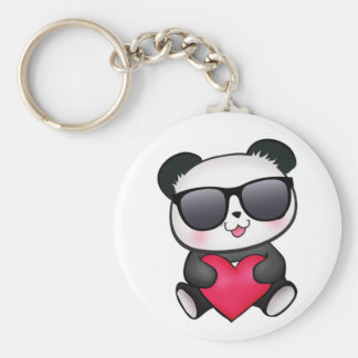 Cool Panda Bear Sunglasses Valentine's Day Heart Basic Round Button Key Ring