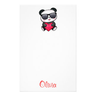 Cool Panda Bear Sunglasses Valentine's Day Heart Stationery