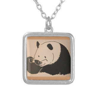 Cool Panda with Shades Silver Plated Necklace
