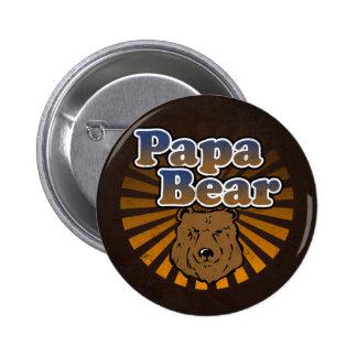 Cool Papa Bear, Brown/Blue/Gold Dad Gift 6 Cm Round Badge