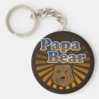 Cool Papa Bear, Brown/Blue/Gold Dad Gift Basic Round Button Key Ring