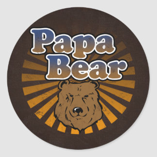 Cool Papa Bear, Brown/Blue/Gold Dad Gift Classic Round Sticker