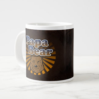 Cool Papa Bear, Brown/Blue/Gold Dad Gift Giant Coffee Mug
