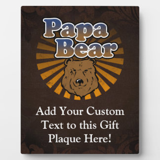 Cool Papa Bear, Brown/Blue/Gold Dad Gift Plaque