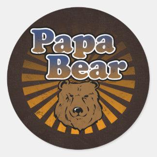 Cool Papa Bear, Brown/Blue/Gold Dad Gift Round Sticker