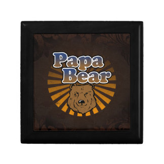 Cool Papa Bear, Brown/Blue/Gold Dad Gift Small Square Gift Box
