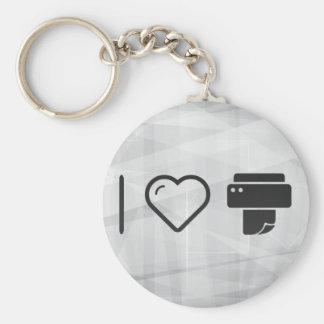 Cool Paper Printer Basic Round Button Key Ring