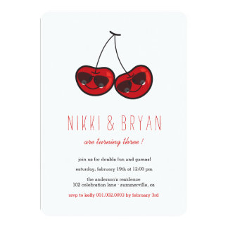 Cool Party Cherries Twins Birthday Photo Invite
