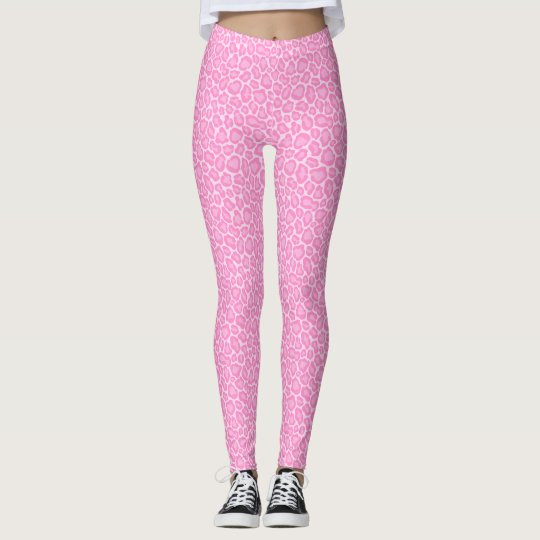 Cool Pastel Pink Cheetah Leopard Pattern Leggings