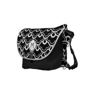 Cool Pattern Black and White Personalized Courier Bag
