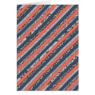 Cool Pattern Diagonal Stripes Coral Indigo Purple Greeting Card