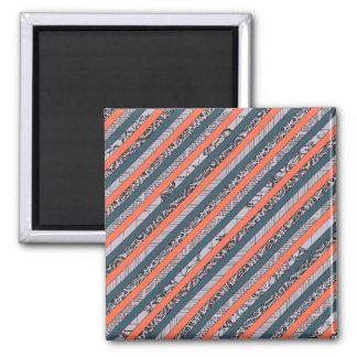 Cool Pattern Diagonal Stripes Coral Indigo Purple Refrigerator Magnets