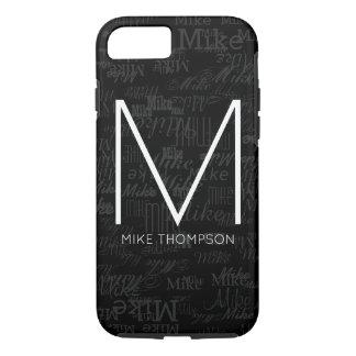 cool pattern of names (custom monogram) black iPhone 7 case