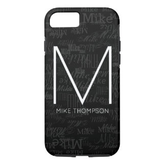cool pattern of names (custom monogram) black iPhone 8/7 case