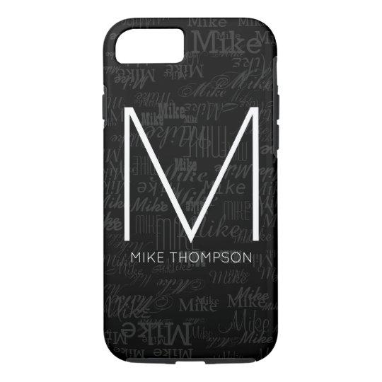 cool pattern of names (custom monogram) black iPhone