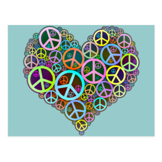Cool Peace Love Heart Postcard