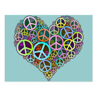 Cool Peace Love Heart Postcard