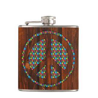 Cool peace polka dot sign colourful wood backgroun hip flask