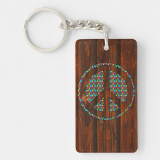 Cool peace polka dot sign colourful wood backgroun key ring