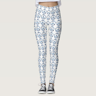 Cool Peace Sign White Custom Leggings