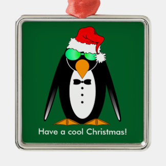 cool penguin Christmas Silver-Colored Square Decoration