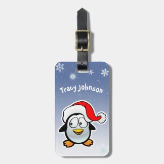 Cool Penguin With Santa Hat Luggage Tag