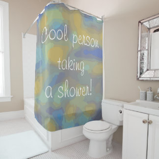 Cool person taking a shower Fun Abstract Design Shower Curtain