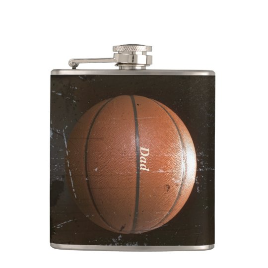 Cool Personalised Vintage Grunge Basketball Flask