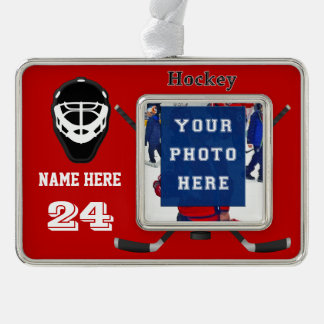 Cool Personalized Hockey Ornaments PHOTO, 2 TEXT Silver Plated Framed Ornament