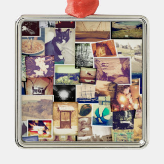 Cool Photo Filter Hipster Collage Silver-Colored Square Decoration