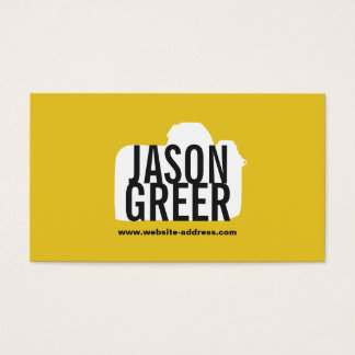 Cool Photographer Yellow Camera Logo Photography Business Card