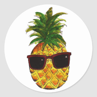 Cool pineapple classic round sticker