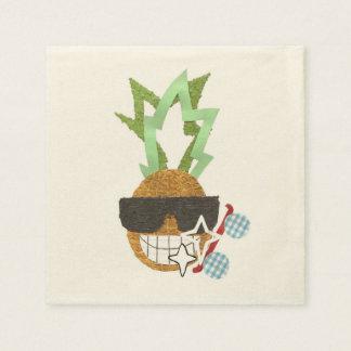 Cool Pineapple Ecru Napkins Paper Napkins