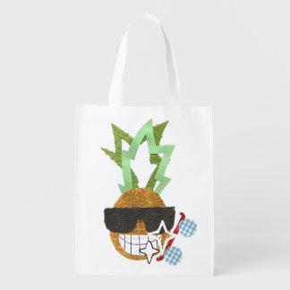 Cool Pineapple No Background Reusable Bag