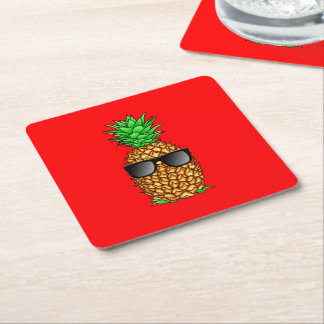 Cool Pineapple Square Paper Coaster