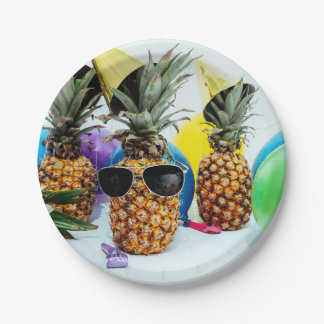 Cool Pineapple with Sunglasses Paper Plate