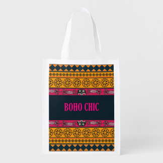 Cool Pink and Yellow Bohemian Pattern | Boho Chic Reusable Grocery Bag