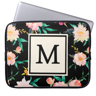 Cool Pink Black Monogram Vintage Floral Watercolor Laptop Sleeve