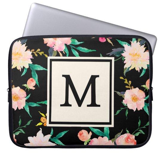 Cool Pink Black Monogram Vintage Floral Watercolor Laptop