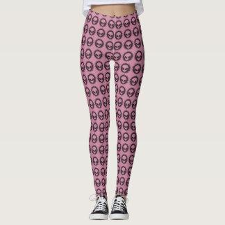 Cool Pink & Black Tribal Alien Symbol Pattern Leggings