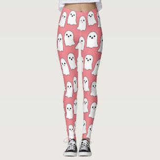 Cool Pink Cartoon Ghosts Pattern Leggings