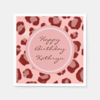 Cool Pink Leopard Disposable Serviettes