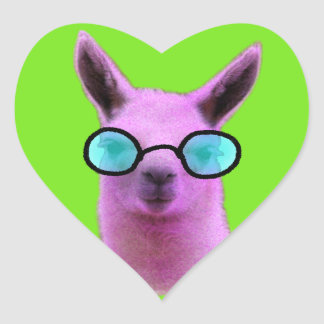 Cool Pink Llama! Heart Sticker