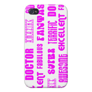 Cool Pink Modern Design 4 Doctors Positive Words Covers For iPhone 4