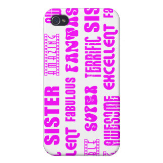 Cool Pink Modern Design 4 Sisters Positives Words iPhone 4/4S Case
