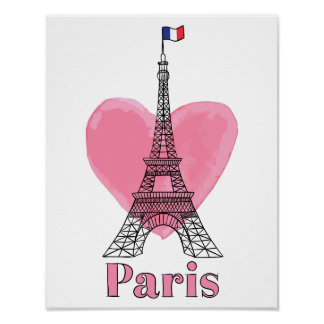 Cool Pink Paris Love Modern Eiffel Tower Poster
